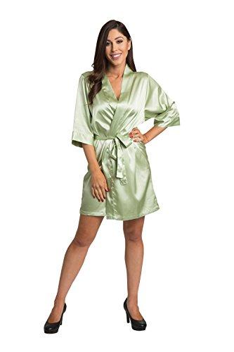 (Zynotti Womens Sage Satin Blank Robe S/M 2-12)