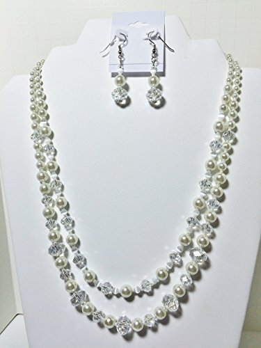 - Bride White Glass Pearls Faceted Beads Necklace Set 19 Inch