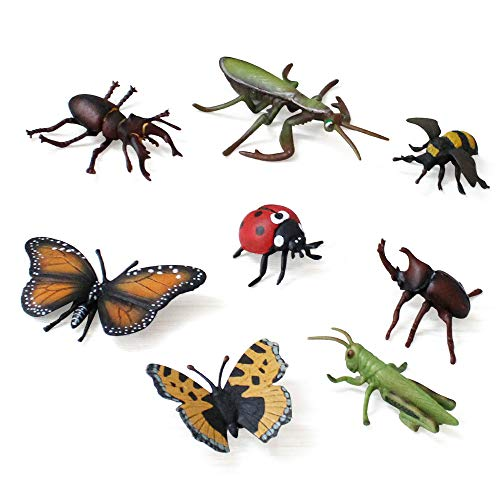 Fantarea Wild Animal World Figures Model Insect Figures Insect Model Set Toys Butterfly Bee Figurine Playset Desktop Decoration Collection Gifts Educational Toys for 5 Years Old Boys(8 -