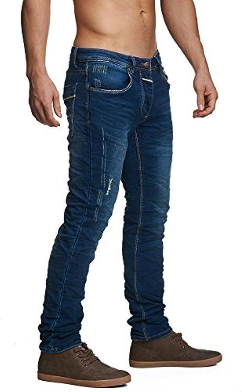Mega styl niebieskie dżinsy męskie spodnie Light-Washed Indigo Slim-Fit 5 Pocket jogg-Denim: Odzież