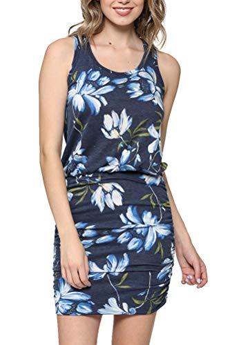 LaClef Women's Mini Ruched Tank Shift Dress (Denim Flower, XL)