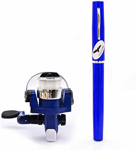 PiscatorZone Pocket Pen Rod Fishing Rod and Reel Combos: Travel Mini Rod/Sea Fishing Rod + #2000 Aluminum Spinning Fishing Reel + Fishing Line-Carbon Fiber Telescopic Lightweight and Compact