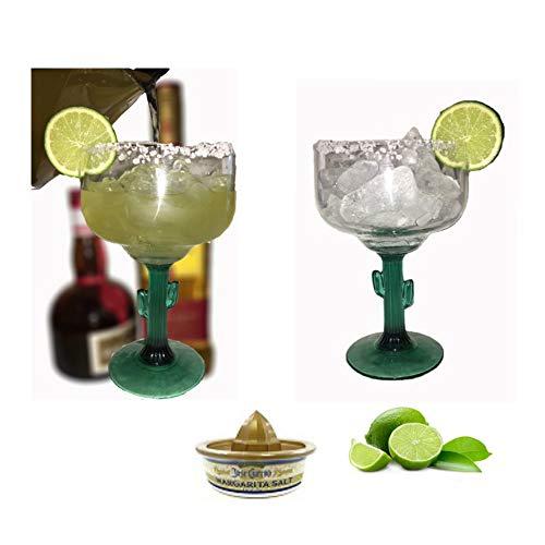 Classic Margarita Glasses - Green Cactus Stems - Cozumel Margarita 16 ounces - Blended Margaritas - On The Rocks with Salt ()