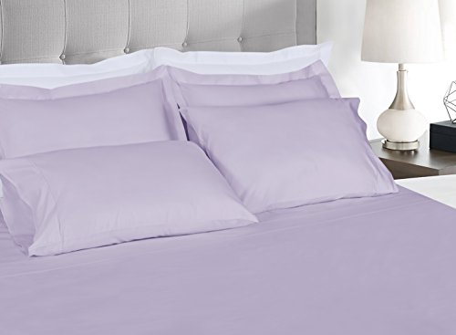 Threadmill Home Linen 400 Thread Count Bedding Collection 100% ELS Cotton Solid Sateen Sheet Set, Luxury Bedding, 4 Piece Set, Bed Sheets, Smooth Sateen Weave, Queen, Lilac