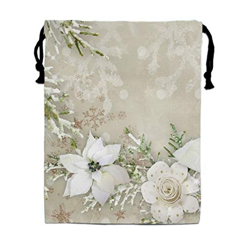 (Artistic Flower White Poinsettia Snowflake Drawstring Portable Storage Shoe Outdoor Travel Bag Dustproof Gift Bags)