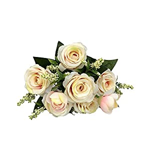 Botrong Artificial Fake Blooming Rose Flower Bridal Bouquet Wedding Party Home Decor 21