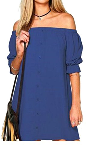 Cromoncent Dresses Blue Button Womens Off Shoulder Sleeve Lantern Elastic Mini rWrHUqnZ