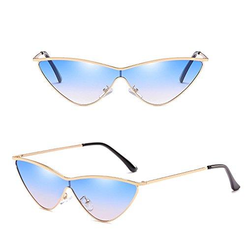 Dintang fille Or avec extérieures Lunettes de soleil de de de Cadre UV400 de mode Bleu Cateye soleil la de de femmes Lentille protection lunettes PPaRrnxw