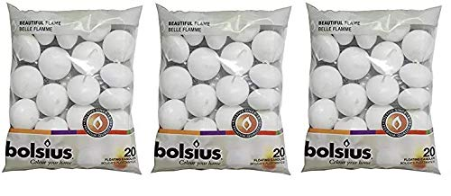 BOLSIUS Unscented Floating Candles - Set of 20 White Floating Candles - Cute and Elegant Burning Candles - Candles with Nice and Smooth Flame - Party Accessories (Thrее Расk)