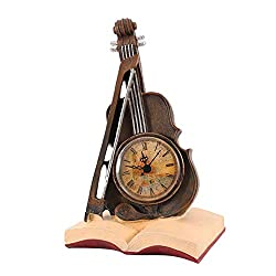 AUNMAS Vintage Clocks Resin Violin Model Clock Retro Clock Desktop Decoration Friends for Office Cafe and Bar Decor