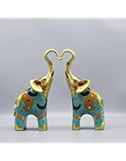 SUGUTEE Good Luck Large Elephant Statue Decorations for Home, Elephant Figurines Statues Home Decor, Elephant Gifts, Elephant Figurines with Trunk Up ( Handmade )