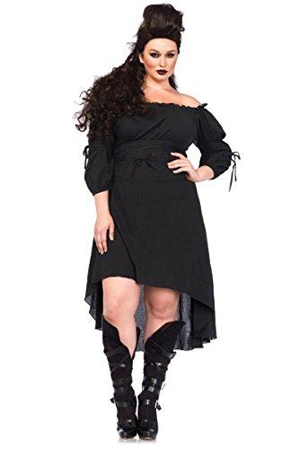 [Leg Avenue Women's Plus-Size Plus High Low Peasant Dress Costume, Black, 3X/4X] (Halloween Costumes Renaissance)