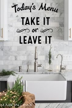 Decor Vinyl Store Today's Menu Take It Or Leave It (Black) Decal, Sticker, Kitchen Decal, 13