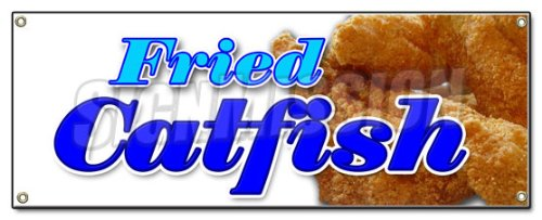 Fried Catfish Banner Sign Fresh Lunch Dinner Local Platter Sandwich French Fries