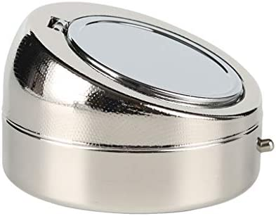 灰皿ポータブルカー灰皿封印された小さなステンレス製のふた (Color : Silver)