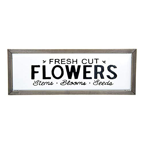 Metal Fresh Cut Flowers Sign with Wooden Frame Wall Mounted Garden Plaque Wall Art