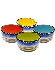 "Certified International Tequila Sunrise Ice Cream Bowl, 5.25"", Assorted Designs, Set of 4, Multicolored"