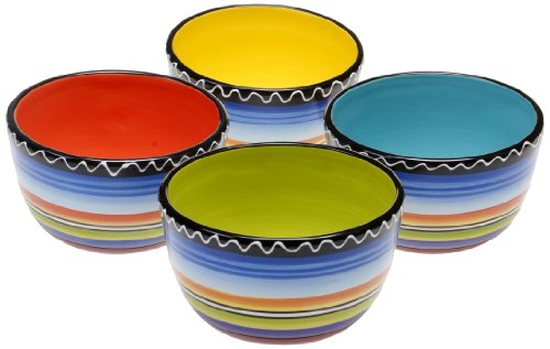 (Certified International Tequila Sunrise Ice Cream Bowl, 5.25-Inch, Assorted Designs, Set of 4)
