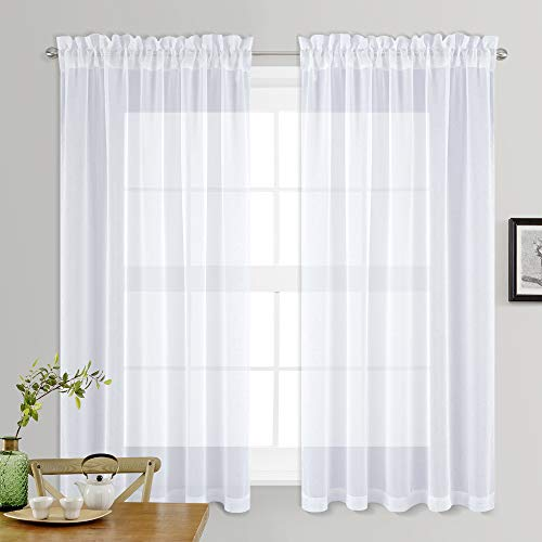 NICETOWN Sheer White Curtains for Bedroom - Rod Pocket Faux Linen Texture Sheer Voile Window Curtain Panel for Kitchen (White, 2-Pack, W55 x L45)