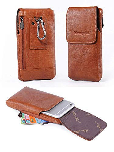Vertical Leather Mobile Case - Holster Case with Belt Clip,Vertical Leather Phone Holster Pouch with Belt Loop Carrying Case Waist Bag Cellphone Holder for iPhone XS Max XS 7 8 Plus Galaxy Note 9 8 5 4 S9 S8 S7 Plus+Keychain-Brown