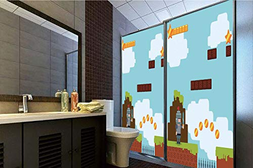 Horrisophie dodo 3D Privacy Window Film No Glue,Video Games,Arcade World Kids 90s Fun Theme Knight with Sword Fireball Bonus Stars Coins,Multicolor,70.86