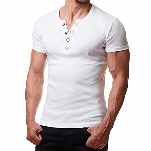 Price comparison product image Promotions! Mens Metal Round Buckle T-Shirt Button Blouse Short Sleeve Fit Pollover Top by JSPOYOU (L2,  White)