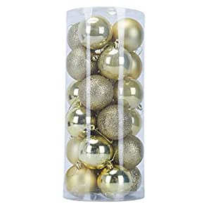 Christmas tree decorations Christmas ball ornaments shatterproof ball small wedding party holiday decorations, Christmas tree decorations, including hooks christmas ornaments blush 24PC(60mm) (Gold)