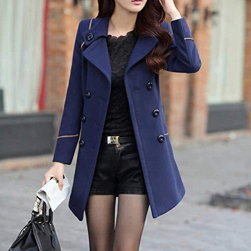 Mode Femmes Vintage Blau Slim Coupe Manteau Chaudes Croisé À Revers Élégant Plus Belle Manteau Trench Manches D'hiver Produit Classique Manches Thermique Longs Survêtement wAEqxFS