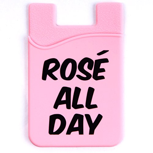 Rosé All Day Silicon Stick on Cell Phone Credit Card Holder Wallet for iPhone with 3M stick on adhesive for woman and girls waterproof pink pouch style by Phoenix Wireless (Mlb Genuine Necklace)