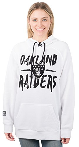 NFL Oakland Raiders Women's Fleece Hoodie Pullover Sweatshirt Tie Neck, Medium, White