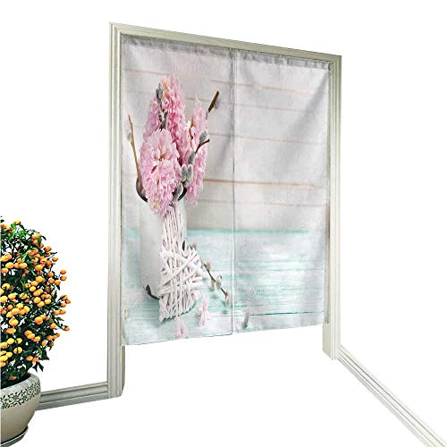 aolankaili Noren Doorway Curtainbackground with hyacinths Willow Flowers in Aged Mug Hand or Machine wash in Cold Water 36
