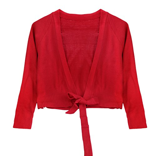 inlzdz Kids Girls Classic Front Tie Knot Wrap Long Sleeve Knit Sweaters Dance Leotard Dress Top Shrug Cardigan Red 7-8
