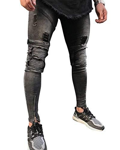 Slim Denim A Strappati Biker Foro Skinny In Strappi Fit Grau Uomo Pantaloni Jeans Da Con Chiusura qpSw781