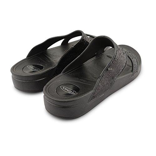 New Ladies soporte de cuña de bajo EVA con purpurina abierto Toe verano sandalias Flip Flop zapatillas de plataforma de vacaciones de playa negro