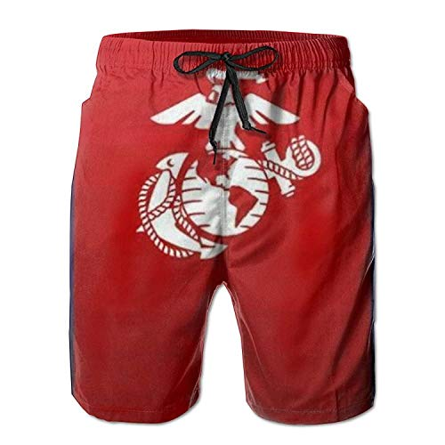 Beachs USMC Marine Corps Mens Boardshorts Swim Trunks Men Workout Board Shorts Surf Trunks White, Shorts Size M ()