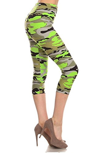Leggings Depot Women's Plus Size High Waisted Best Selling Capri Print Leggings (Chartreuse) - Chartreuse Body