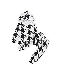 Veepola 2pcs Baby Girls Boys Print Hoded Zip Top Coat+Pants Toddler Warm Set