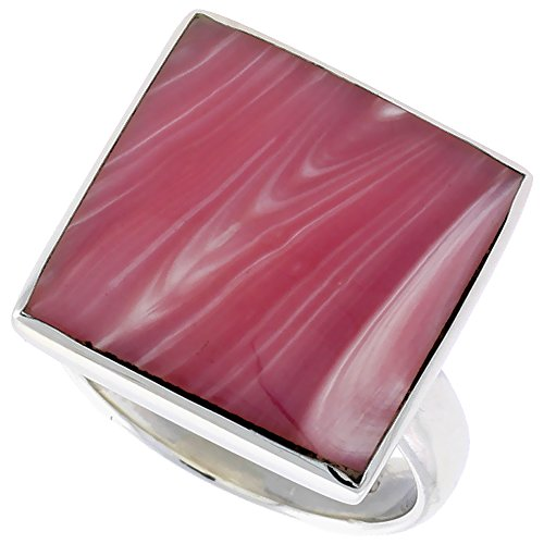 Pink Mother Of Pearl Ring (Sterling Silver Ring, w/ 17mm Square-shaped Pink Mother of Pearl, 5/8