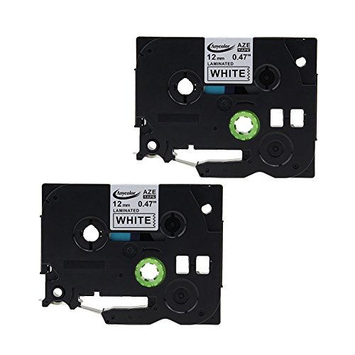 "Anycolor Compatible Brother TZe Laminated Label Tape TZe231 TZe-231 TZe 231 Black on White for Brother P-touch Label Makers (0.47"" x 26.2' 12mm x 8m Pack of 2)"