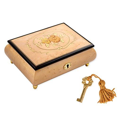 (Splendid Italian Hand Crafted Inlaid Wood Jewelry Music Box Plays Polonaise)