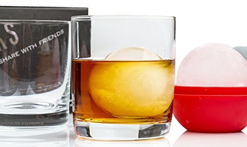 Whiskey Glass Set | 2 'The Franklin' Old Fashioned, Whiskey, Cocktail Glasses with 2 large ice sphere molds in gift package by The Elan Collective. Handmade crystal, 10 ounce capacity - Old Mold