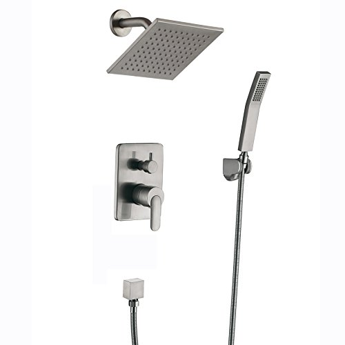 Shower Fixtures Brushed Nickel All Metal Split Big Flow Rain Shower Faucet Systems - Complete Shower Set