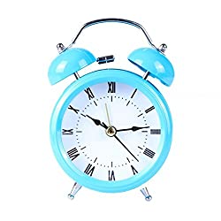 Sikye Metal Shell Two-Way Bell Alarm Clock,Small Desk Table Bedroom ClockDecoration with Night Light (sky blue)