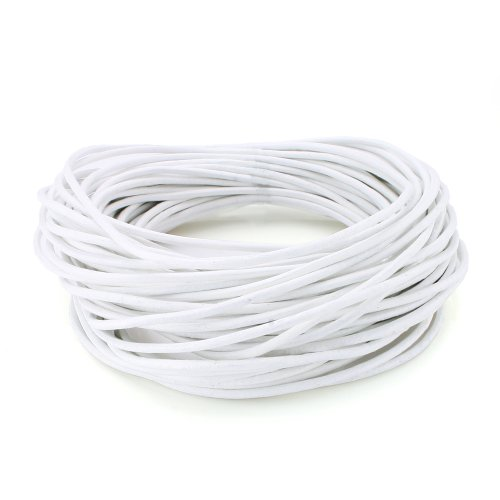 BEADNOVA Genuine Round Leather Cord White Leather Strips For Jewelry Making Bracelet Necklace Beading (11 Yards,1.5mm)