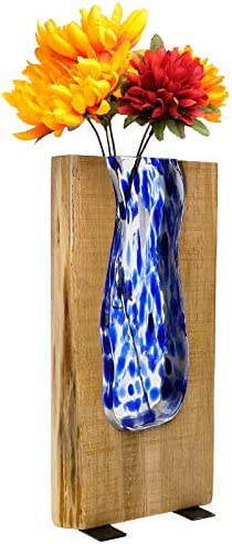 Excello Global Products Blue Stained Glass and Wood Vase – Rustic Flower Vase Decorative Centerpieces for Dining Room Table Coffee Tables Vintage Farmhouse Decor Tall – 13.75 x 6.75
