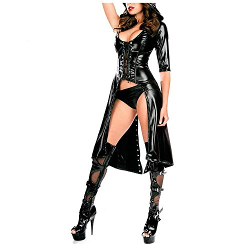 Sweet Pea Wig (Sexy Halloween Costumes Cosplay 2PC Black Gothic Punk Wetlook Sweet Pea Hooded Coat Gown Dress LC8960 Women Clothing (M))