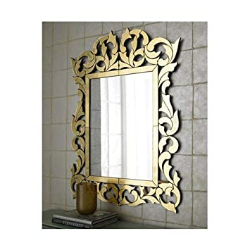 Buy Venetian Image Decorative Wall Mirror For Living Room Entrance Makeup Bathroom Mirror Glass Frame Silver Small Online At Low Prices In India Amazon In