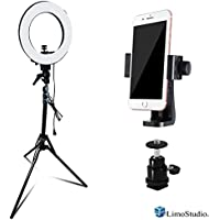 LimoStudio 14 inch Diameter Dimmable Continuous Round Ring Light, for Beauty Facial Shoot, Light Stand Tripod, Cell Phone Spring Clip Holder, Camera Adapter, Photo Studio, AGG2418