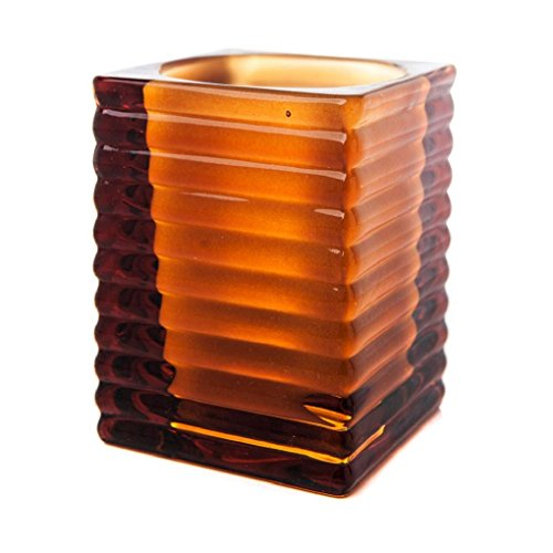 Ribbed Glass Amber Candle Holder (3x3x4 inches)