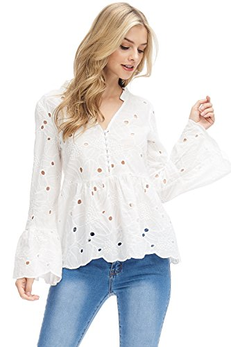 's Long Bell Sleeve Eyelet Embroidered Top (Small) ()